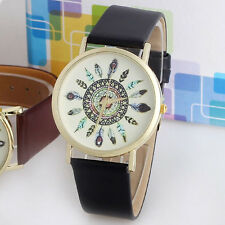 Womens Watch Vintage Feather Dial Leather Band Quartz Analog Unique Wrist Watch