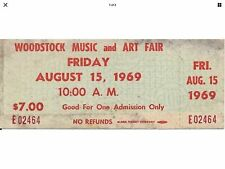 Woodstock Festival 1969 Original Unused $7.00 Ticket Friday August 15, 1969