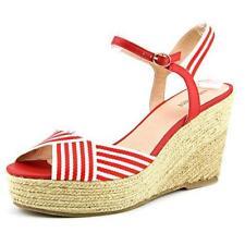 Calzado de mujer sandalias con tiras de color principal rojo de lona