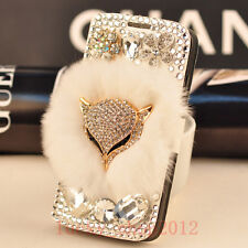 Luxury Bling Diamond Fox Rabbit Fur Leather Wallet Case for Samsung Note 20 S20+