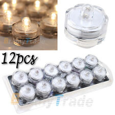 12pcs Submersible waterproof Flameless LED Tea Light Candles Batteries included