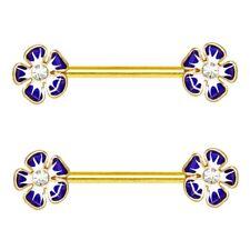 """JEWELED HIBISCUS FLOWER NIPPLE PIERCING RINGS BARBELLS 14g 5/8"""" (Sold in Pairs)"""