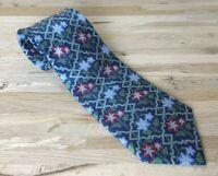 Vintage Tie SMITHSONIAN INSTITUTION Deco Art Nouveau flower blue SILK Italy USA