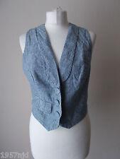 Women's Blue White Stripe Linen Blend  Waistcoat Vest By George  Size 12
