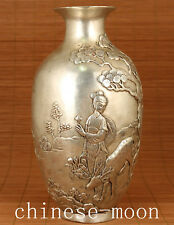 Big Chinese Old tibat silver Copper Hand Carved Belle Ox Statue valuable vase