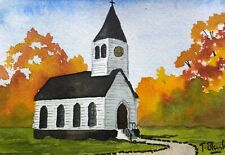 ORIGINAL AQUARELL - Kirche im Indian Summer.