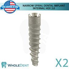 2x Dental Implant Narrow Platform Spiral Internal Hex Titanium Sterile SLA