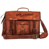 "18"" Men's Genuine True Leather Vintage Satchel Laptop Messenger Briefcase Bag"