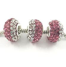2pcs Gorgeous Czech Crystal Round Bead European Charm Fit Necklace Bracelet DIY