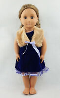Fit For 18'' American Girl With Shawl Blue Party Dress Sundress Doll Clothes New