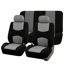 Universal Fitment Multifunctional Fabric Car Seat Covers Gray Black Full Set