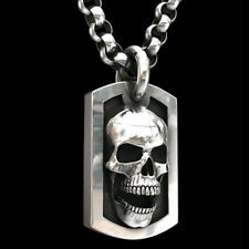 Mens Stainless Steel Big Skull Head Pendant Box Chain Rock Punk Necklace Gift