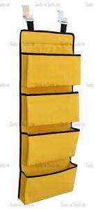 YELLOW Colour NEW 4 Tier Door Hanging Hook Organizer Storage Pockets Wardrobe