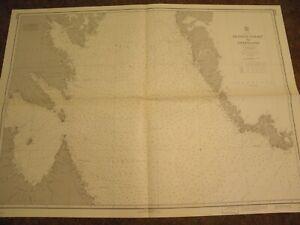 VINTAGE NAUTICAL CHART,CANADA,DAVIS STRAIT-HUDSON STRAIT TO GREENLAND