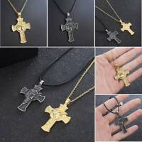 Mens Women Chain Necklace Cross Stainless Steel Pendant Crucifix Jesus Christian