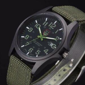 Armbanduhr Militär Herren Armee Stoff-Uhrenband Grün Quarz Watch Sport