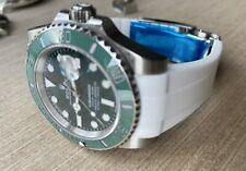 20mm WHITE Rubber Strap Band Rolex Watch Submariner with Aftermarket Buckle