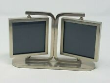 Pottery Barn Pewter-Look Double Sided Rotating Picture Frame Holds 4 Photos