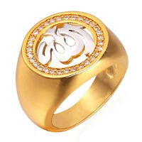 Hot 18K Two Tone Gold Plated AAA CZ Wide Band Rings Islamic Jewelry Size 6-12