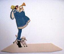 Vintage Art Deco Bridge Place Card w/ Adorable Little Lamb & Girl Blowing Horn*