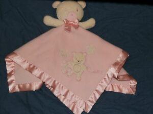 Carter's Classics Hug A Bear Pink Lovey Plush Mini Blanket Lovie Fleece Satin