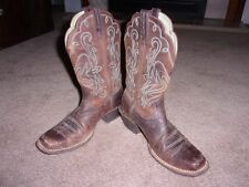 Women Ariat Boots Brown Distressed Leather 15825 Tapered Square SiZe 7.5B VGC!!!