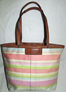Coach Pink Pastel Striped Medium Nylon Brown Leather Tote Shoulder Bag Purse