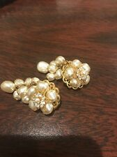 New Listing - Miriam Haskell Dangle Baroque Pearl & Rhinestone Clip Earrings