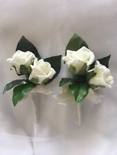 2x Ivory Foam Rose Wedding Bridal Flower Corsages or Double Rose Buttonholes