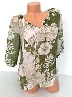 NEW! Ann Taylor Shirt Top 3/4 Sleeves Floral Green White Silk Petite 6