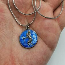 Saint Christopher Blue Enamel & Silver Pendant Medal With Sterling Silver Chain