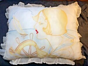Vintage embroidered Art Deco ruffled Accent throw Boudoir pillow Fashion 13 x 17