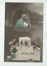 Vintage Tinted Foreign Postcard EARLY 1900s ELEGANT LADY & ELEPHANT FIGURE  S685