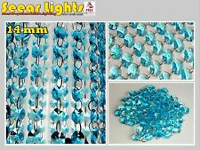100 CHANDELIER AQUA TEAL GLASS 14mm CRYSTALS 2m GARLAND WEDDING DROPLETS BEADS