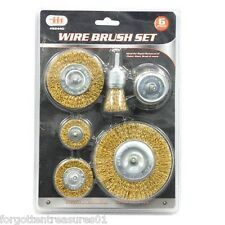 "6 pc WIRE WHEEL BRUSH SET remove dirt paint rust SCALE 4500rpm 1/4"" shank"