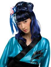 Womens Asian Wig Black Blue Streaks Ninja Samurai Oriental Kimono Geisha Hair