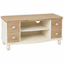 Cream & Wood Finish Flat Screen Plasma LCD TV Table Stand Cabinet Media Unit
