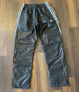 Rare Adidas Mens Track Pants Black Shiny Sz UK 42/44 White Striped-1 Red Stripe