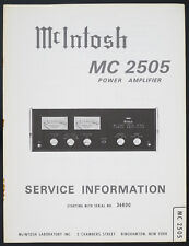 McIntosh mc-2505 original power amplifier Service-Manual/schema elettrico/diagram
