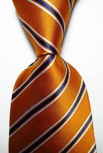 New Classic Striped Orange White Blue JACQUARD WOVEN Silk Men's Tie Necktie