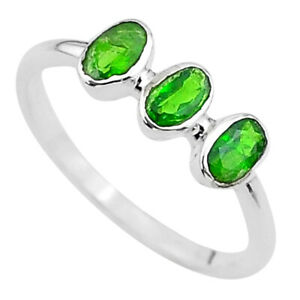 2.37cts 3stone Natural Green Tourmaline Oval 925 Silver Ring Size 8 T33109