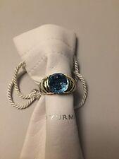 David Yurman Blue Topaz XL Capri Ring Dome Shape 14K YG & Sterling Silver Size 6