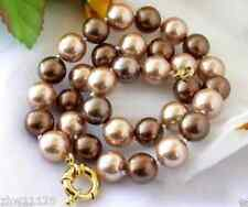 """Shell Pearl Necklace 18"""" Aaa+ Pretty 10mm Natural Multicolor South Sea"""