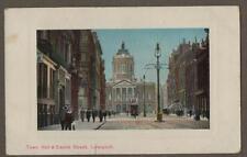 Town Hall & Castle Street Liverpool. c. 1910 Street Scene Postcard     (k.10)