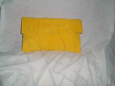 YELLOW SUEDE (SUEDETTE) CLUTCH BAG / YELLOW SHOULDER BAG