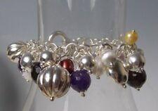 Brev Milor Sterling Silver Charm Bracelet Multi Gems Amethyst Pearls $425 Retail