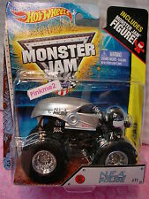 2014 MONSTER JAM Hot Wheels #71 N.E.A. POLICE☆New Silver Truck w/Figure☆1/64