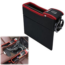 Leather Car Seat Gap Catcher Pocket Coin Storage Box & Cup Holder For Sale