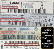 Unlock Pin Code provided IVECO DAILY BLAUPUNKT BOSCH IVECO CD Radio Code Stereo