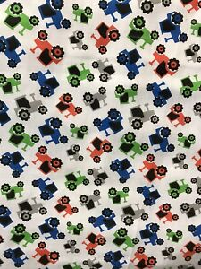 Kids tractor design white polycotton dress/craft fabric